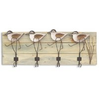 "10"" x 30"" 4 Hook Sandpiper Wall Plaque"