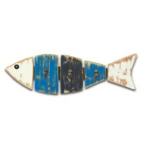 "6"" x 19"" Blue and White Fish 3 Hook Wall Plaque"