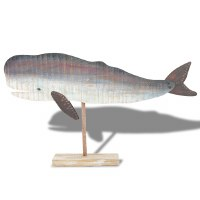 "24"" Gray Sperm Whale On Wooden Stand"