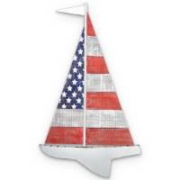 "30"" American Flag Sailboat Wooden Wall Plaque"