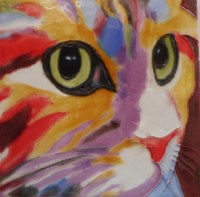 "8"" Square Multicolored Cat Face Tile"