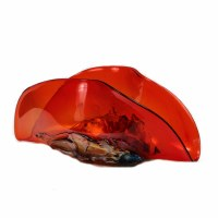 """19"""" Red Glass Taco Shaped Bowl"""
