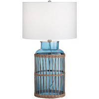 "26"" Wicker With Blue Glass Table Lamp"
