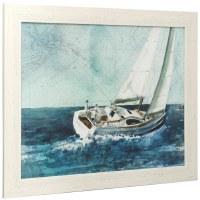 """27"""" x 33"""" White Boat On Blue Framed Print Under Glass"""