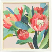 "33"" Square Red Proteas Gel Framed Print"
