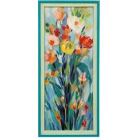 "43"" x 19"" Multicolored Flowers 1 Blue and Green Gel Framed Print"