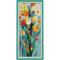 "43"" x 19"" Multicolored Flowers 2 Blue and Green Gel Framed Print"