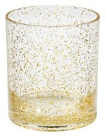 14 Oz Silver and Gold Glitter Rocks Glass