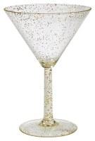 10 Oz Silver and Gold Glitter Martini Glass