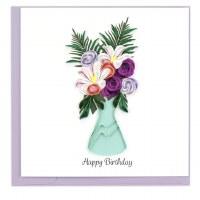 "6"" x 6"" Quilling Birthday Flower Vase Card"