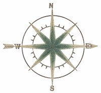 34' Round Antique Blue Finish Compass Metal Wall Plaque