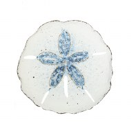 "20"" Round Antique White and Dark Blue Finish Sand Dollar Wall Plaque"