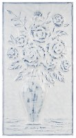 "32"" x 17"" White and Dark Blue Flower Metal Wall Plaque"