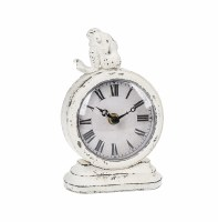 "7"" Antique White Finish Clock With Mermaid Holding Knees"