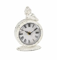 "7"" Antique White Finish Clock With Reclining Mermaid"