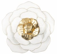 "22"" Round White and Gold Flower Metal Wall Plaque"