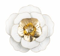 "18"" Round White and Gold Flower Metal Wall Plaque"