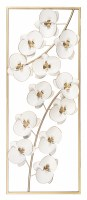 "35"" x 14"" White and Gold Orchid Metal Wall Plaque"