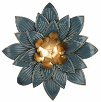 "23"" Round Dark Blue and Gold Flower Metal Wall Plaque"