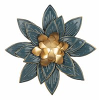 "19"" Round Dark Blue and Gold Flower Metal Wall Plaque"