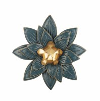 "15"" Round Dark Blue and Gold Flower Metal Wall Plaque"