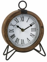 "6"" Round Wooden and Metal Clock"