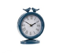 "8"" Round Dark Blue Sitting Bird Table Clock"