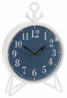 "11"" White With Dark Blue Face Anchor Clock"