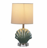 "13"" Green Iridescent Shell Table Lamp"