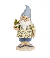 "10"" Beach Gnome With Flowers"
