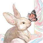 """5"""" Square Bunny With Butterfly Beverage Napkin"""