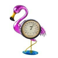 "16"" Flamingo Outdoor Wall Thermometer"