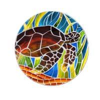 "18"" Round Sea Turtle Glass Bowl"