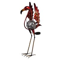 "26"" LED Solar Metal Flamingo Garden Statue"