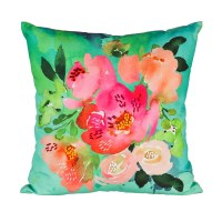 "18"" Square Pink Flowers On Aqua Pillow"