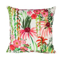 "18"" Square Pink Flowers On White Pillow"