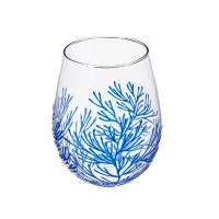 17 Oz Blue Coral Stemless Wine Glass