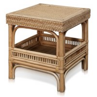 """19"""" Square Natural Rattan End Table"""