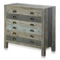 "34"" Gray and Blue 3 Drawer Cabinet"