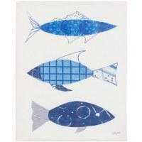 "28"" x 22"" 3 Blue Fish 1 Canvas"