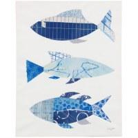 "28"" x 22"" 3 Blue Fish 2 Canvas"