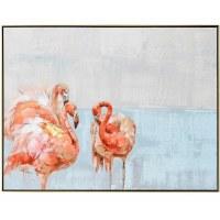 "36"" x 48"" 3 Flamingos On Blue Horizon Framed Canvas"