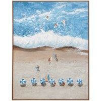 "48"" x 36"" Overhead Beach Scene 2 Framed Canvas"