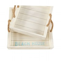 "18"" Square Antique White Finish Beach House Wooden Tray"
