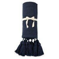 "50"" x 60"" Navy Throw With Tassles"