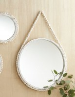 "20"" Round Antique White Finish Bead Rimmed Hanging Mirror"