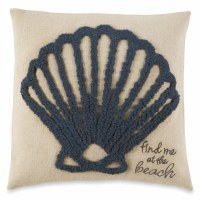 """12"""" Square Navy Scallop Pillow"""