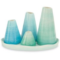 Set of 4 Blue Green Vases With Tray