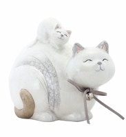 "4.5"" White Cat With Kitten Head Down"