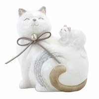 "5"" White Cat With Kitten Head Up"
